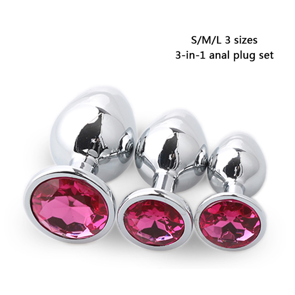 3pcs/Set S&M&L Smooth Metal Anal Plug With Crystal Waterproof Anus Dilator Butt Plug Anal Beads Sex Toys for Men/Women