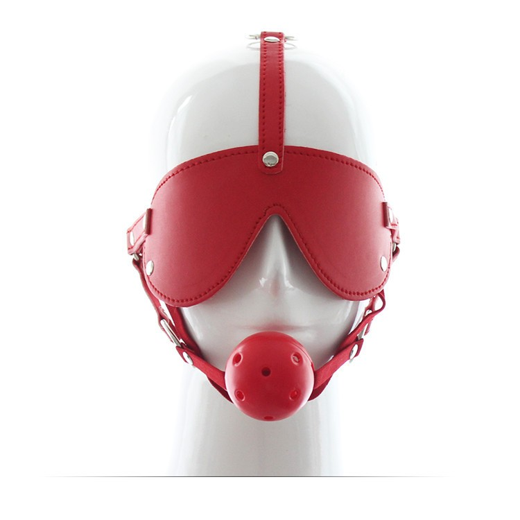 Leather bondage harness blindfold mask plastic ball mouth gag sex toys for couples
