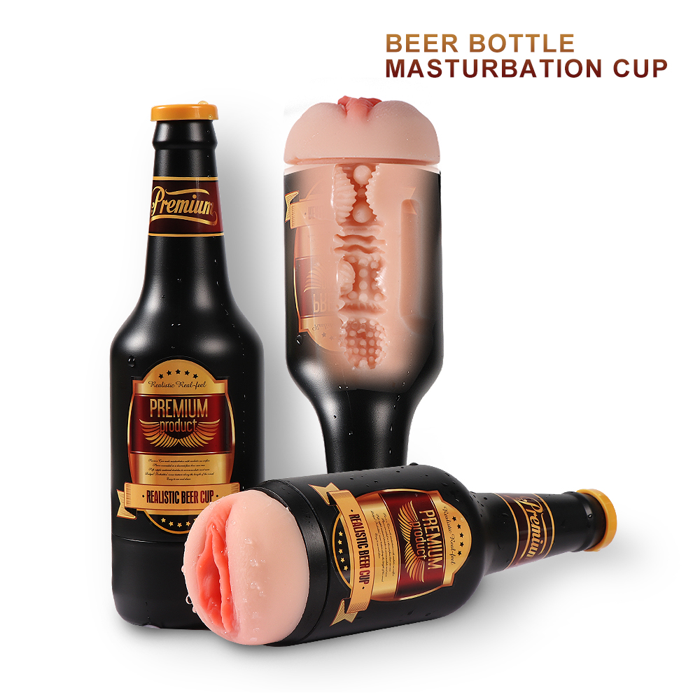 Beer Shape Realistic Medical Silicone Vaginal Pussy Flesh Color with ABS Shell Masturbation Cupz